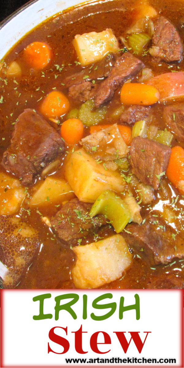 Irish Stew is one of my best Beef Stew recipes! This savory stew flavored with Guinness beer and red wine! A perfect dinner recipe for St. Patrick's Day. via @artandthekitch