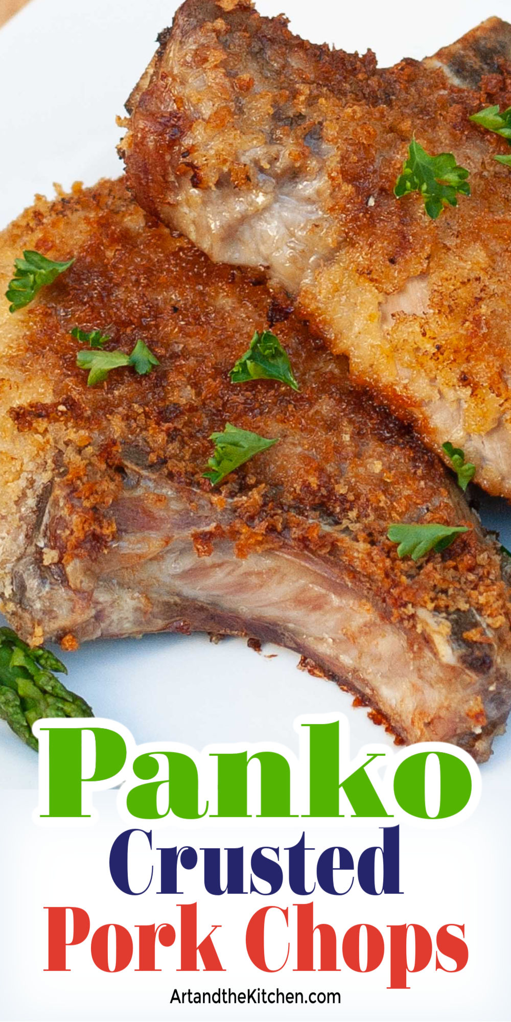 No more dry, tough pork chops when you make this simple recipe. Panko Crusted Pork Chops are tasty, tender, and juicy! via @artandthekitch