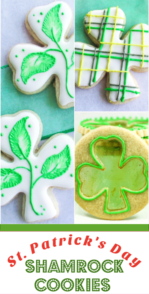 Shamrock shaped sugar cookies beautifully decorated for St. Patrick's Day. via @artandthekitch