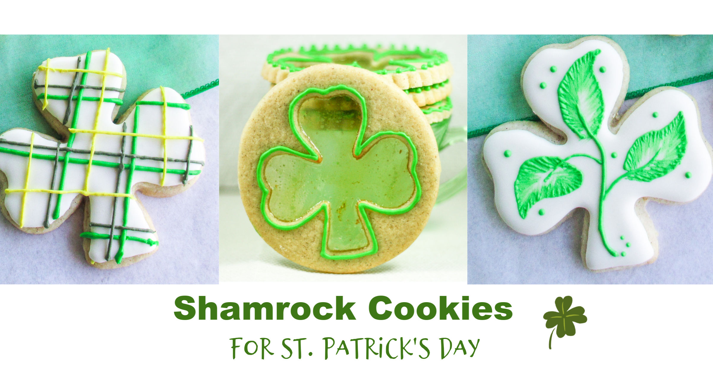 three different Shamrock St. Patrick's Day Cookies with different decorations.