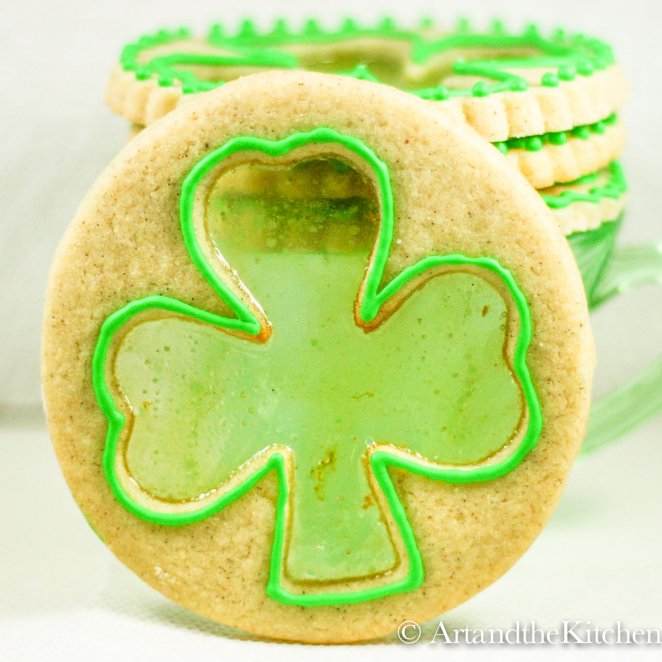 Shamrock cookie with stained glass effect