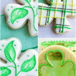 3 photos of shamrock shaped cookies decorated.