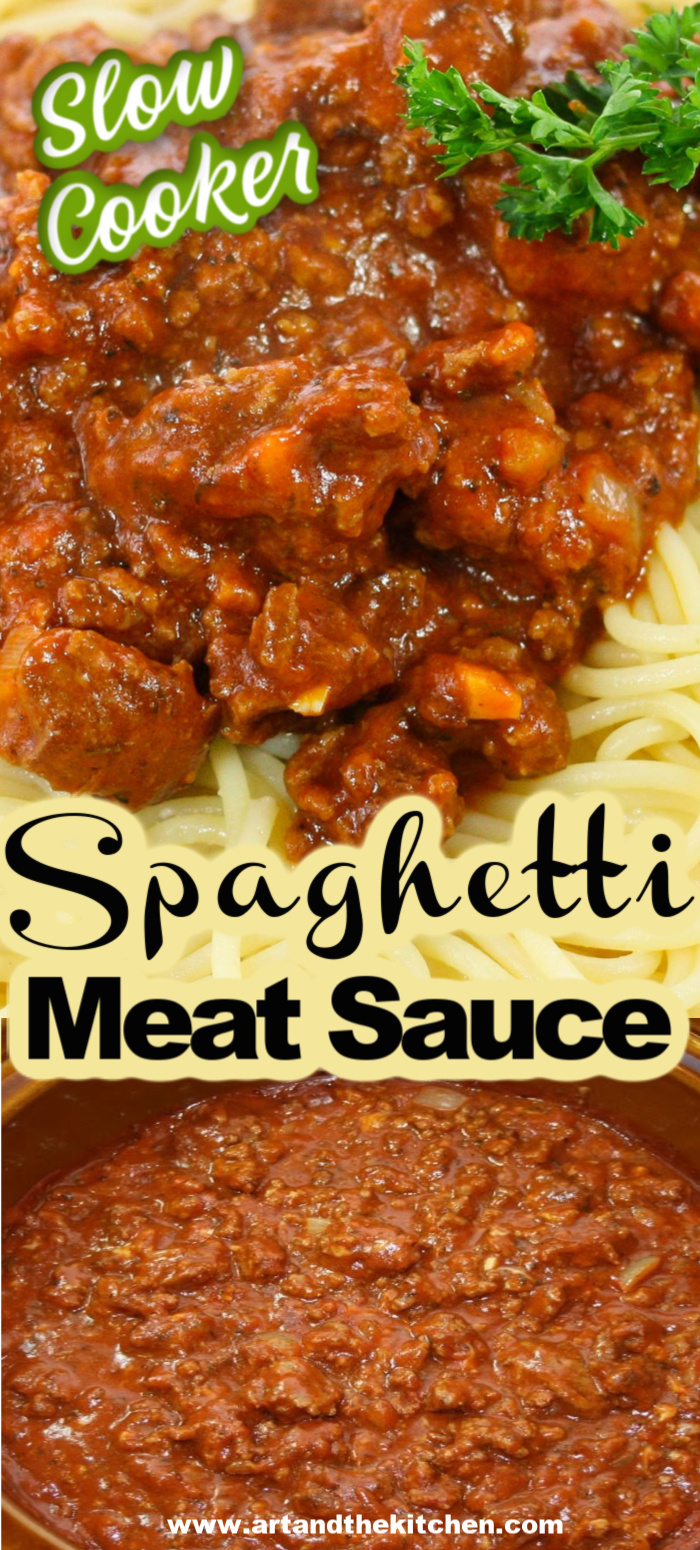 Rich, meaty, homemade spaghetti and meat sauce made in the slow cooker. An all-time family favorite recipe! Double the batch as it freezes great!