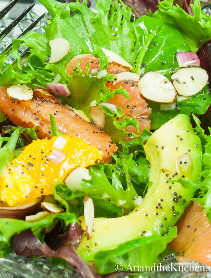 A bowl of fresh salad greens with avocado, grapefruit, and oranges. Sprinkled with almond slivers and poppyseed dressing.