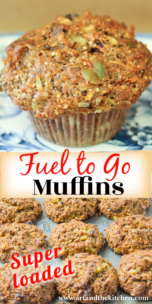 These Fuel to Go Muffins really live up to their name, they are seriously LOADED with a ton of super healthy ingredients! Try them once and you'll have everyone begging you to make more. via @artandthekitch