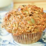 close up photo of healthy muffin on blue plate
