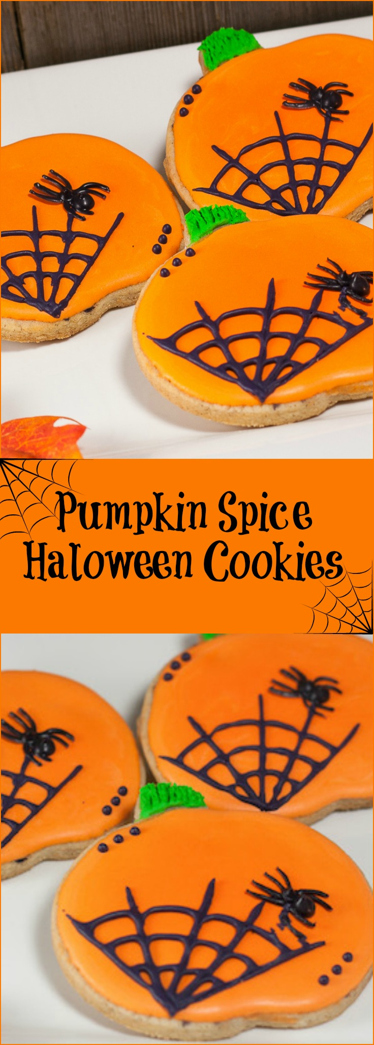 Festive pumpkin spice sugar cookies are a great homemade Halloween treat for spooky trick-or-treaters or Halloween party treat.
