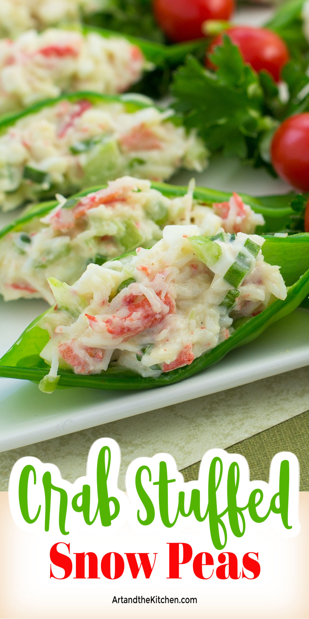 Crisp and light, these Crab Stuffed Snow Peas are a great appetizer you can make ahead. They will be a hit appetizer at your next party! via @artandthekitch