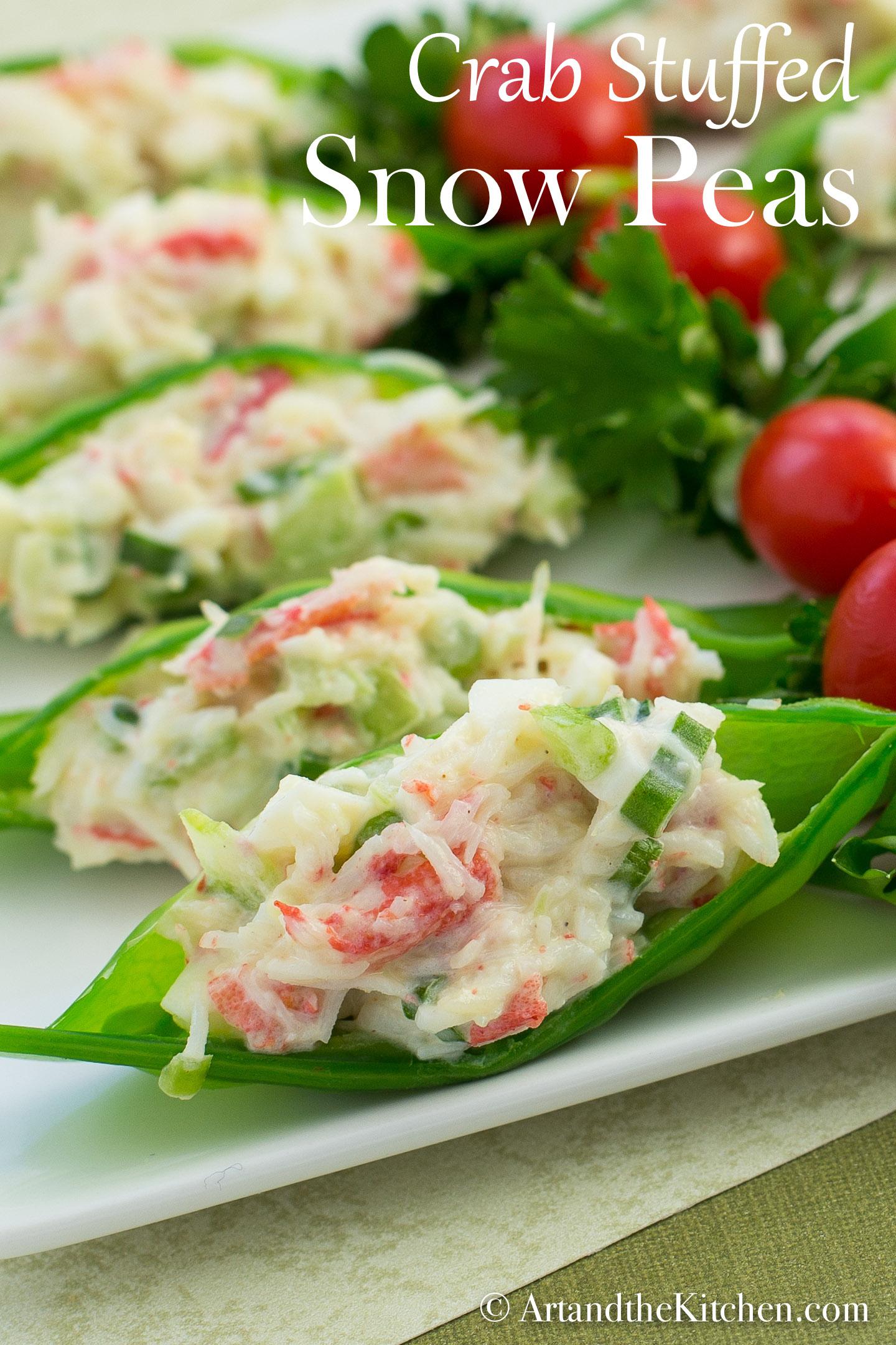 Crab stuffed Snow Peas