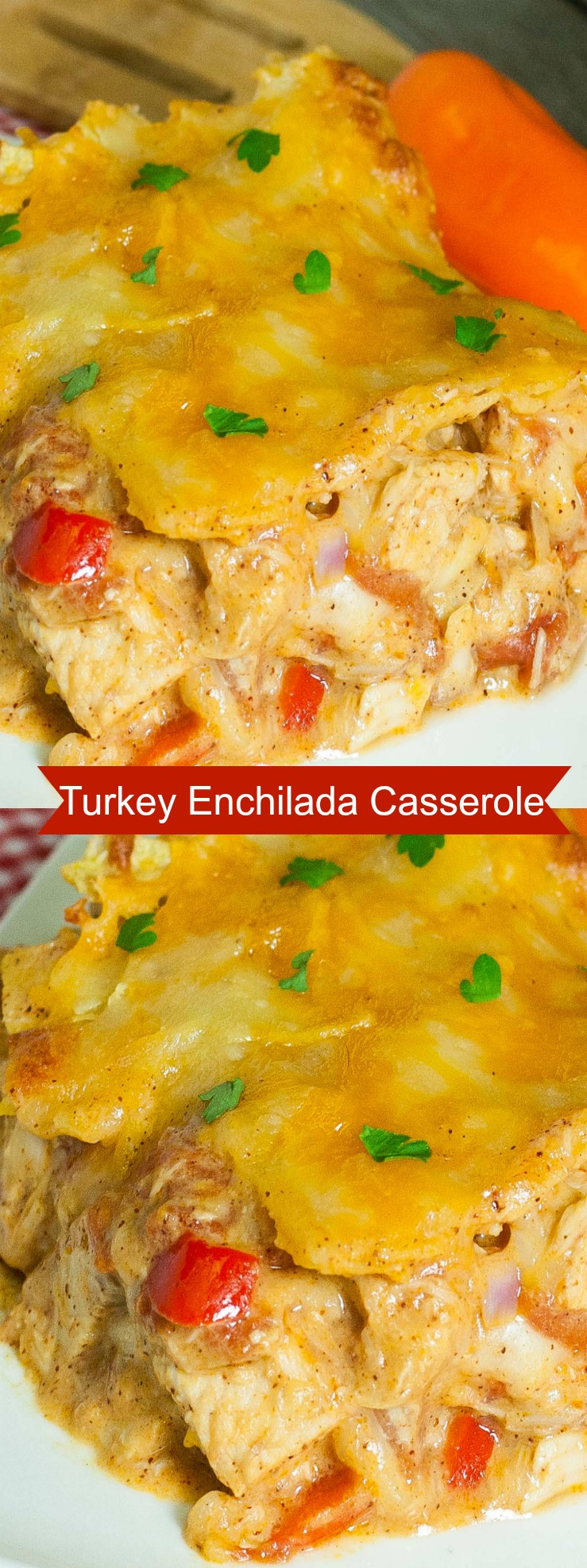 Turkey Enchilada Casserole is a great recipe for using up leftover turkey. All the flavorful spices you use in enchiladas and yummy cheesy layers. via @artandthekitch