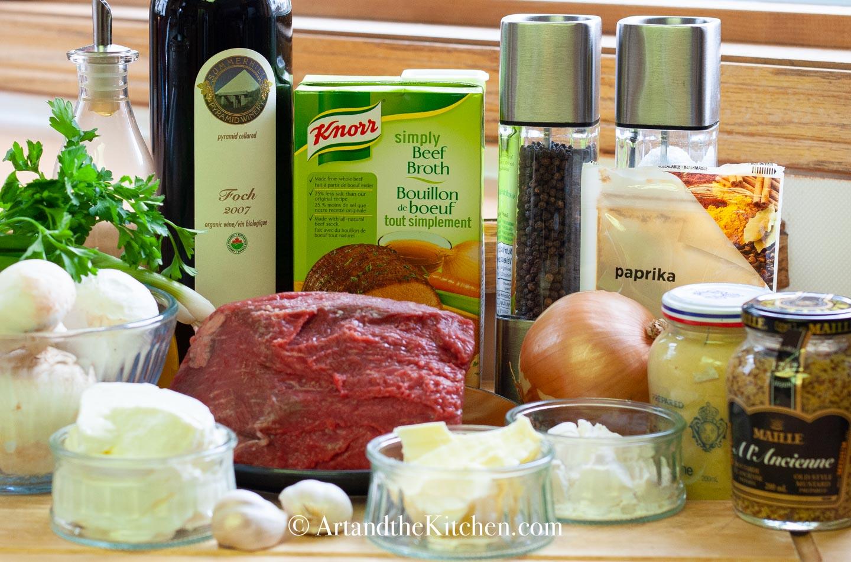 Ingredients for making stroganoff.