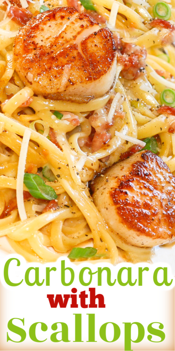 Carbonara with Pan Seared Scallops quick and easy to make. Ready in under 30 minutes with perfectly seared scallops and delicious, creamy carbonara pasta. via @artandthekitch