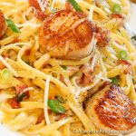 Plate of linguine pasta topped with seared scallops, tossed in carbonara sauce.