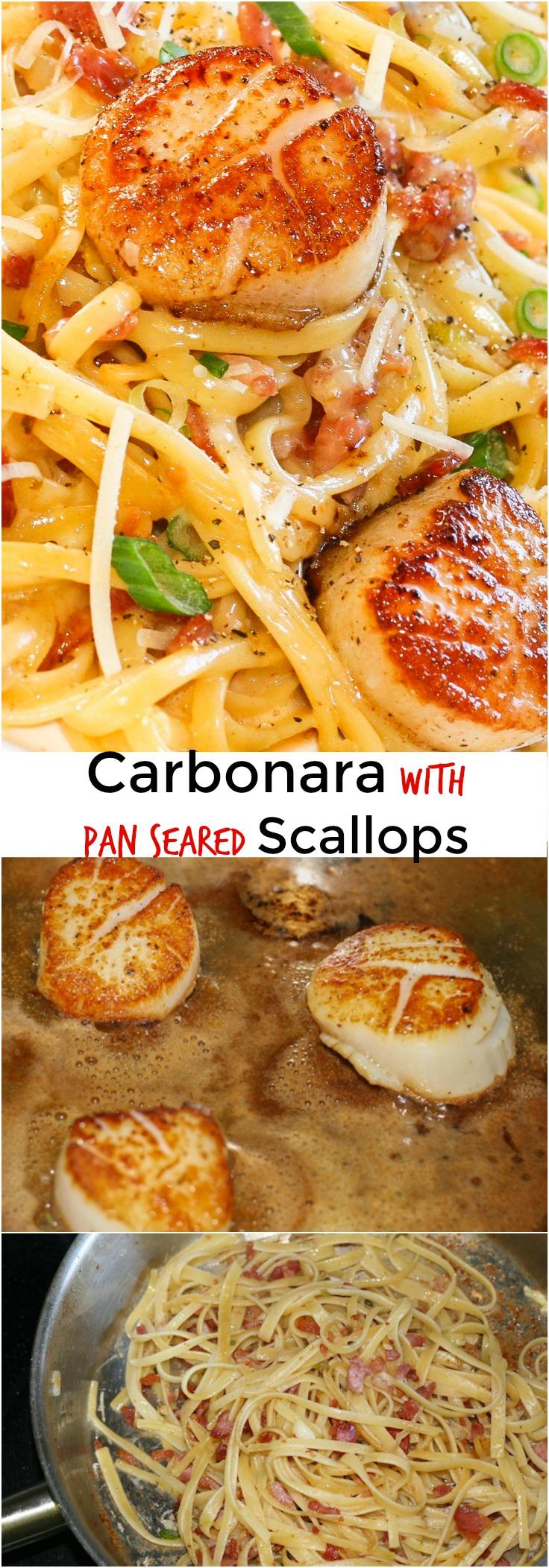 Carbonara with pan seared Scallops