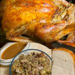 Roast turkey, stuffing and gravy