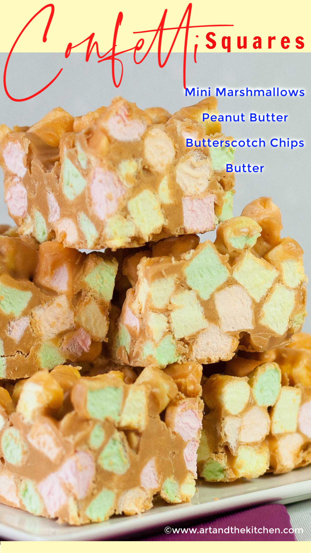 Confetti Squares also known as peanut butter marshmallow squares are addictively delicious. Made with colourful mini marshmallows, peanut butter and butterscotch chips. via @artandthekitch