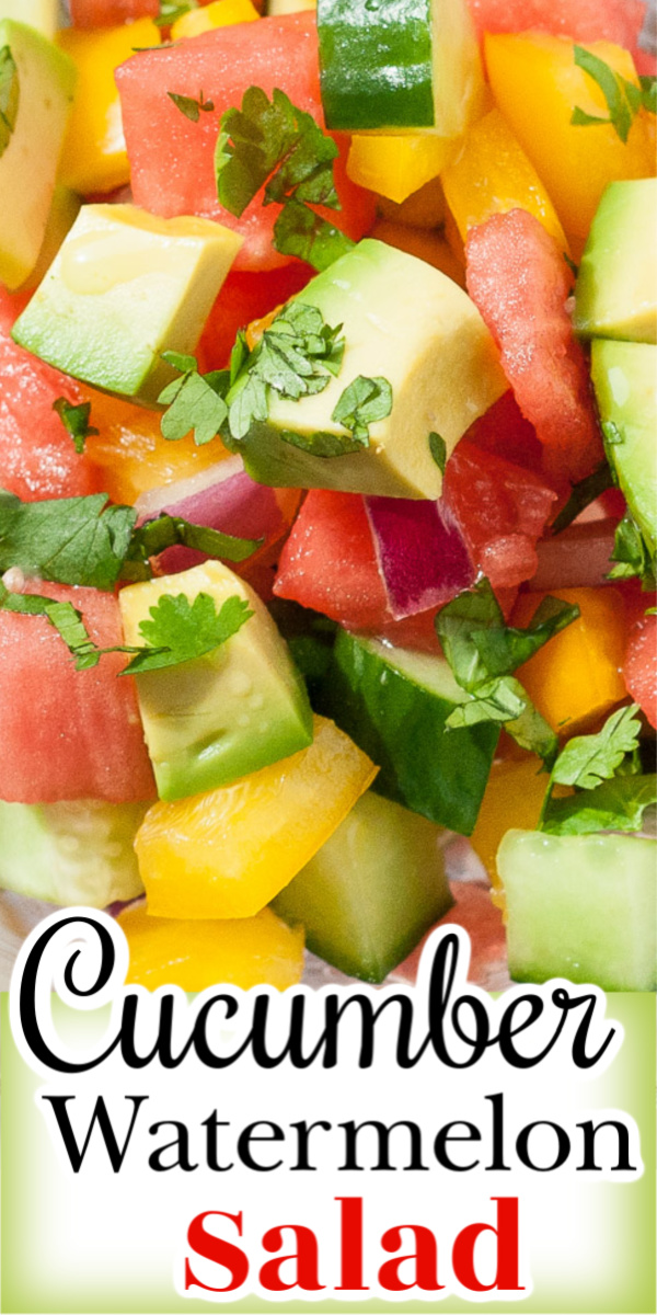 Cucumber Watermelon Summer salad is a refreshing combination of cucumbers, watermelon, peppers and avocado tossed together in a light tequila citrus dressing. via @artandthekitch