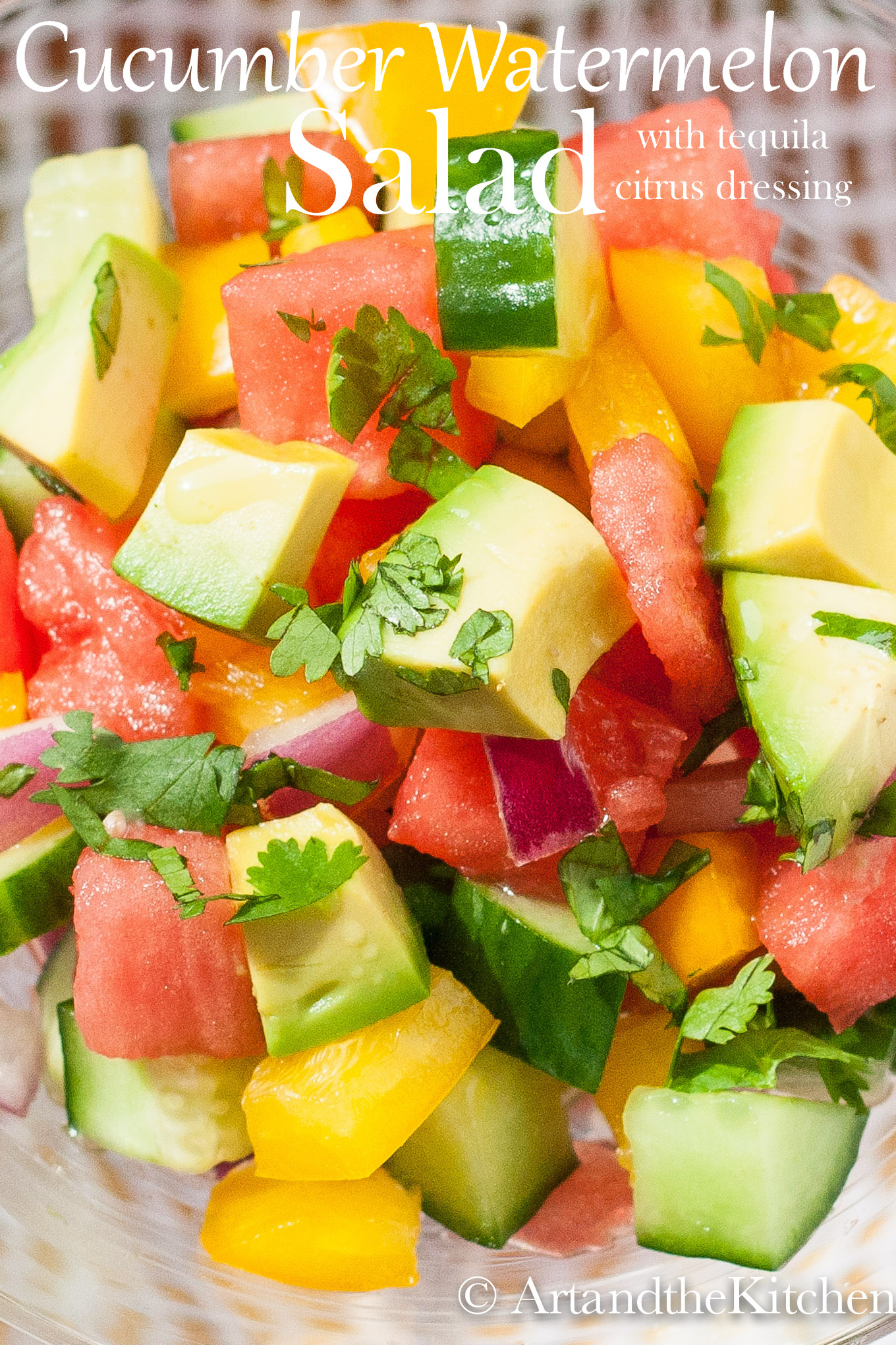 Closeup photo of salad of avocado, watermelon, cucumber, peppers, and red onions.