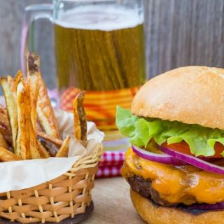 Homemade Burger and Fries with Jack Daniel's BBQ Sauce