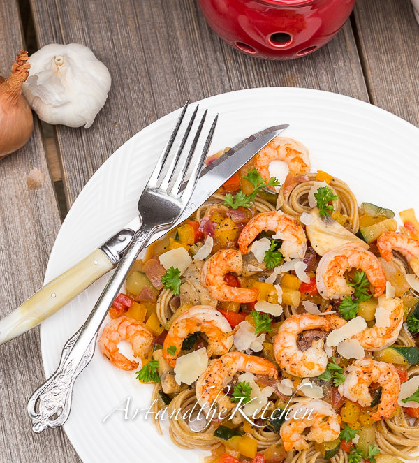 pasta with shrimp and white wine sauce