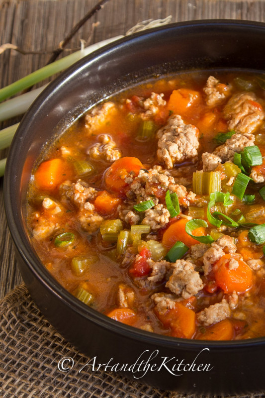 Italian Turkey Burger Soup