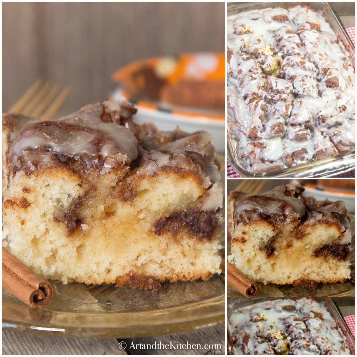 Cinnamon Roll Swirl Cake  tastes like a homemade cinnamon bun without all the work. A great coffee cake recipe! via @artandthekitch