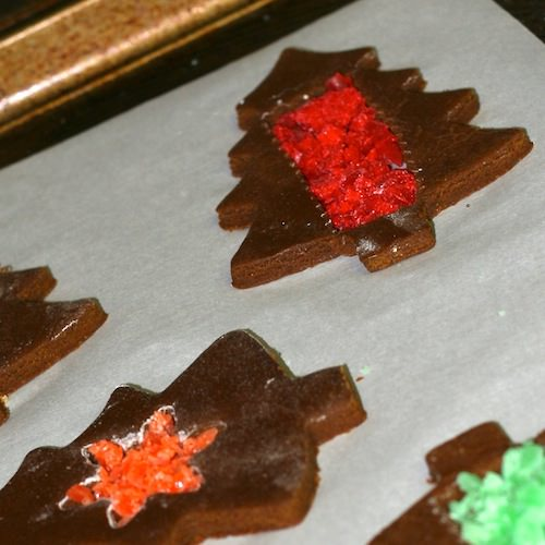 Gingerbread stained glass cookies