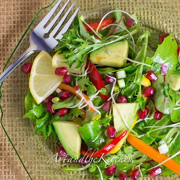 Pomegranate Salad with Pomegranate Dressing