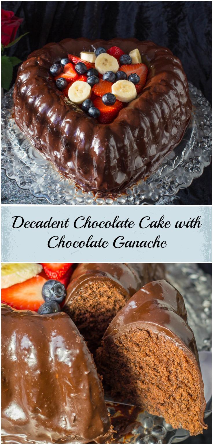 Chocolate Cake covered in Chocolate Ganache