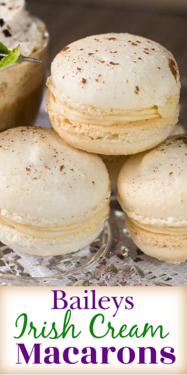 Easy to follow recipe for perfect macarons that are filled with scrumptious Baileys Irish Cream buttercream.