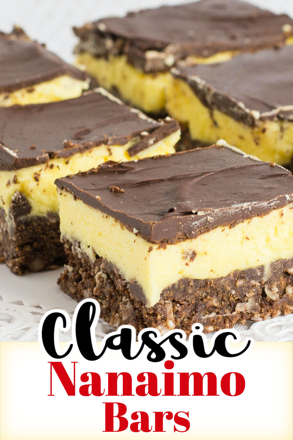 Classic Nanaimo bars are delicious layers of chocolate coconut crumb crust, custard filling and chocolate coating. via @artandthekitch