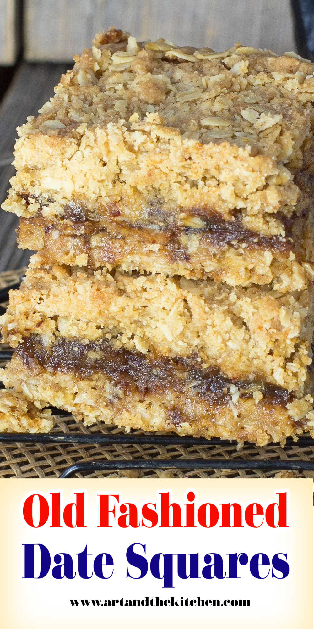 An old fashioned recipe for Date Squares or as we used to call them matrimonial squares. A delicious layer of sweet date filling sandwiched between a crumbly chewy oatmeal crust and topping. via @artandthekitch