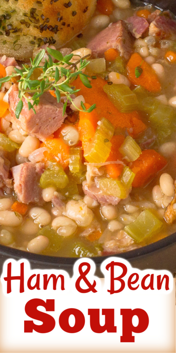 This is a best ever recipe for Hearty Ham and Bean Soup, perfect for using up leftover ham. via @artandthekitch