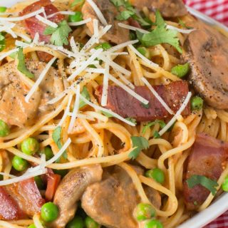 Angel hair pasta with peas and bacon