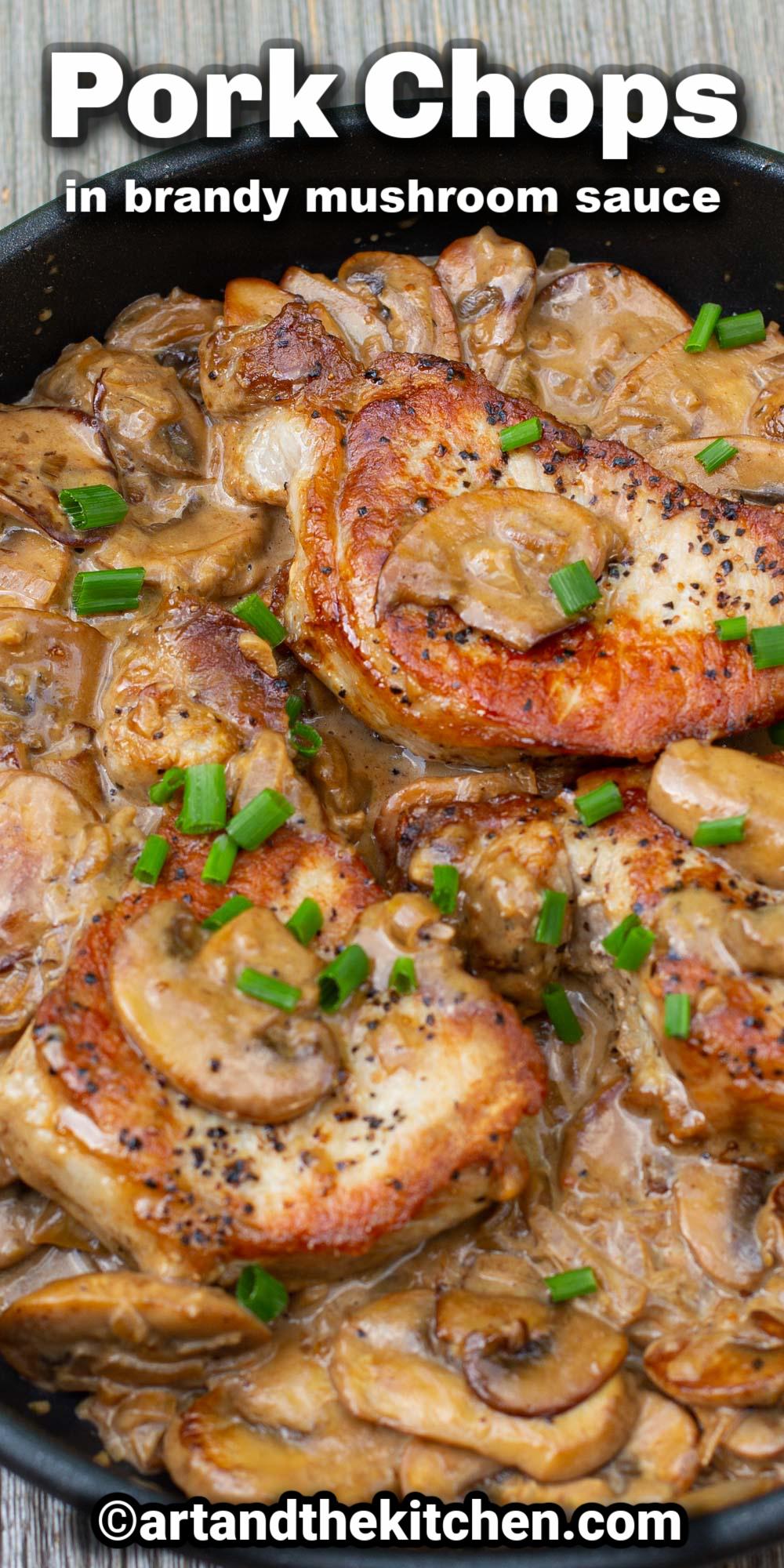 Tender, juicy Pork Chops in a Creamy Brandy Mushroom Sauce is an easy recipe that delivers gourmet flavor. A great one-pan dish. via @artandthekitch