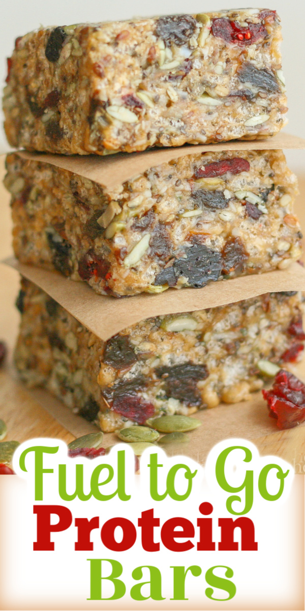 Fuel to Go Homemade Protein Bars are super tasting and healthy.  Loaded with hemp, chia, sunflower and pumpkin seeds and dried fruit.
