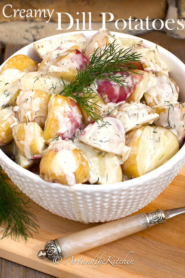 New Potatoes in creamy dill sauce