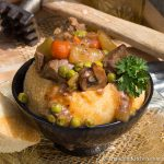 Beef stew in a bread bowl.