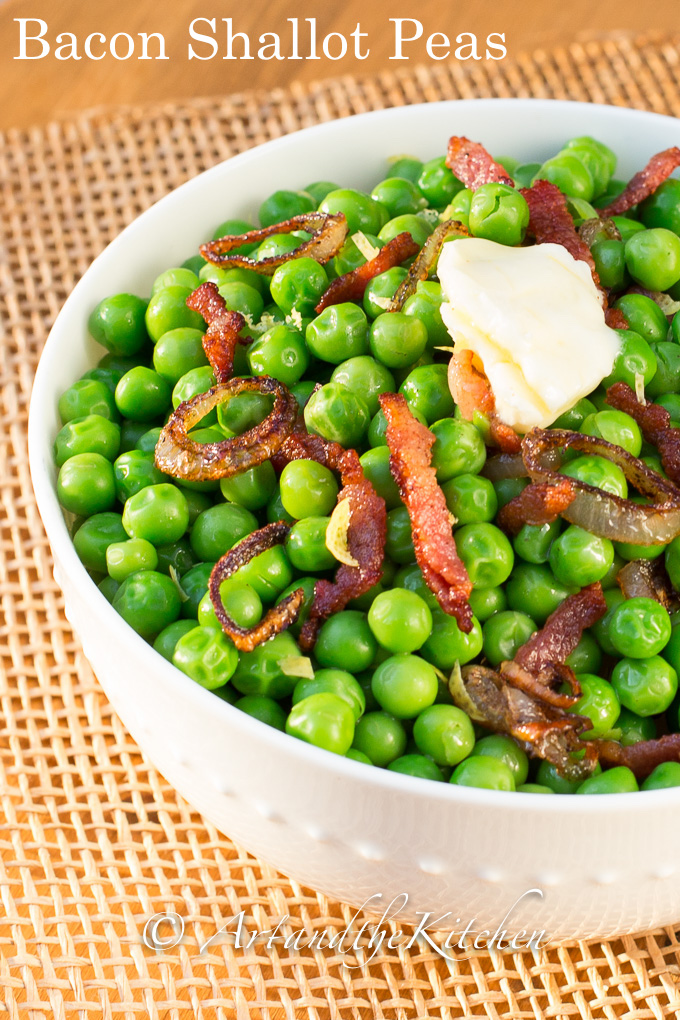 Green Peas combined with crisp bacon and shallots make a delightful side dish. No more plain boring peas with this quick and easy recipe.
