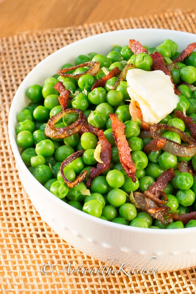 Bacon shallot peas