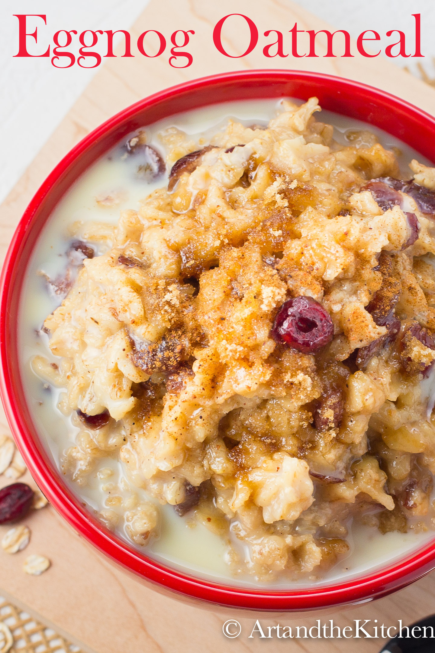 Oatmeal made with eggnog and cranberries
