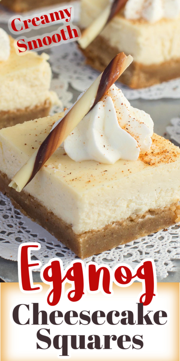 These Eggnog Cheesecake Squares are made with a creamy, smooth cheesecake layer and a Holiday spice brownie crust.  via @artandthekitch