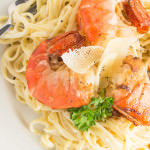 fettuccine alfredo pan seared shrimp