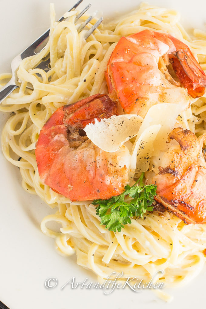 ... easy recipe to make creamy Fettuccine Alfredo with Pan Seared Shrimp