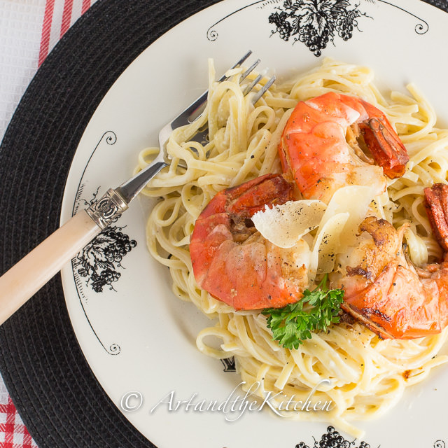 Fettuccine Alfredo with Pan Seared Shrimp | Art and the Kitchen