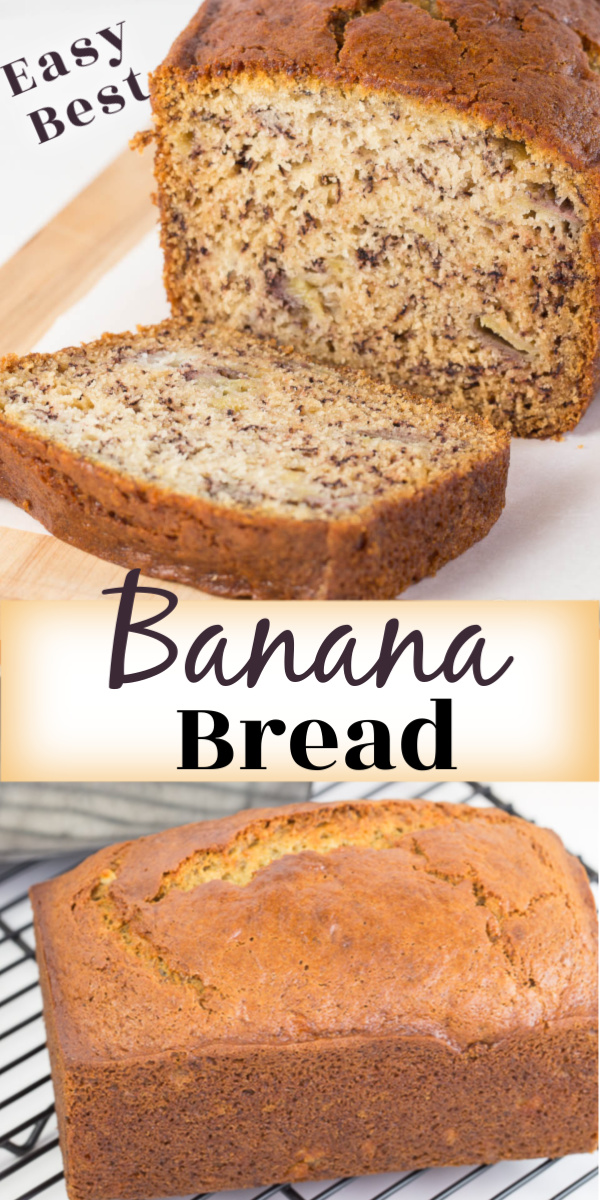 A banana bread recipe that is moist, delicious and loaded with banana flavor.