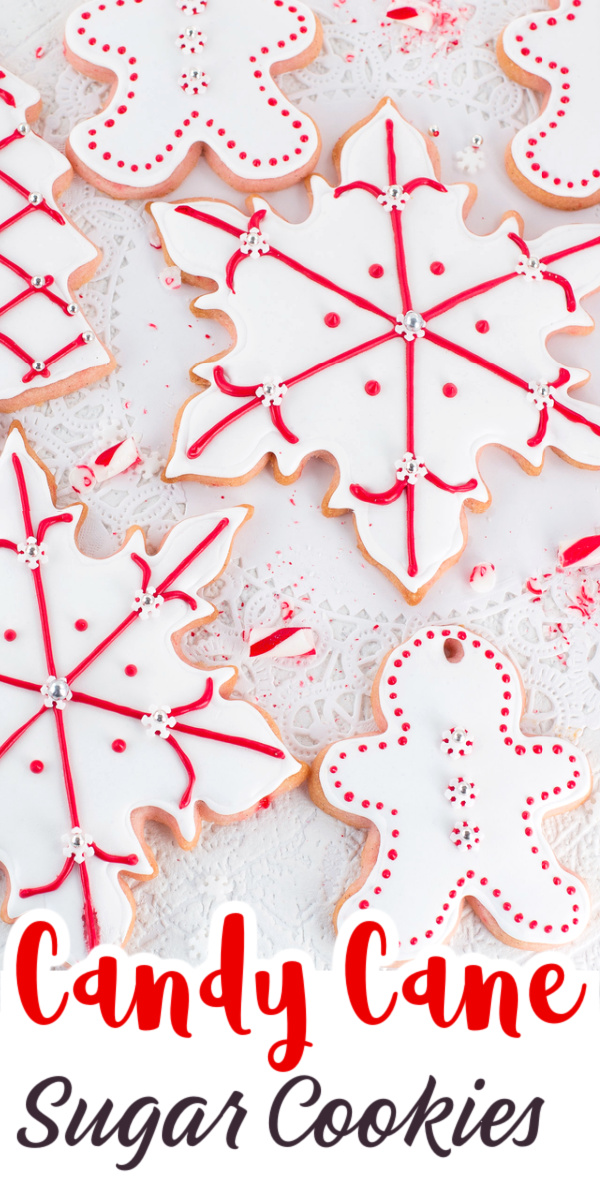 This amazing tasting recipe for Candy Cane Sugar Cookies makes perfect cutout cookies for decorating with icing. The finely ground candy canes turn the cookies a pretty pink color. via @artandthekitch