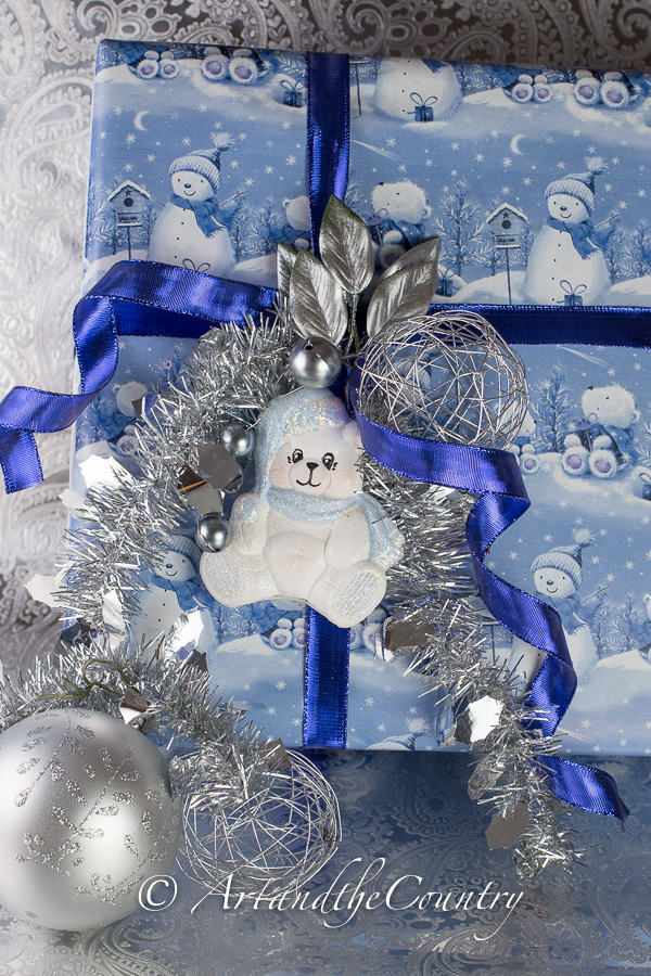 Christmas gift wrapping blue