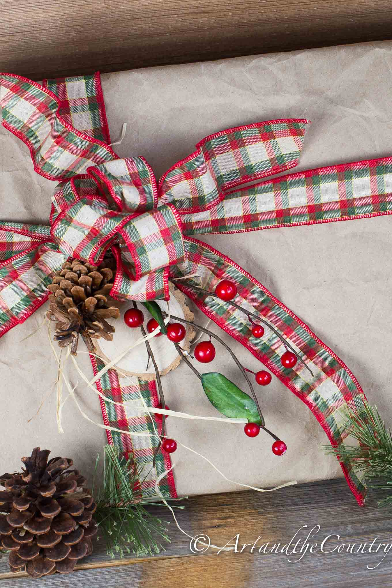 Christmas gift wrapping rustic