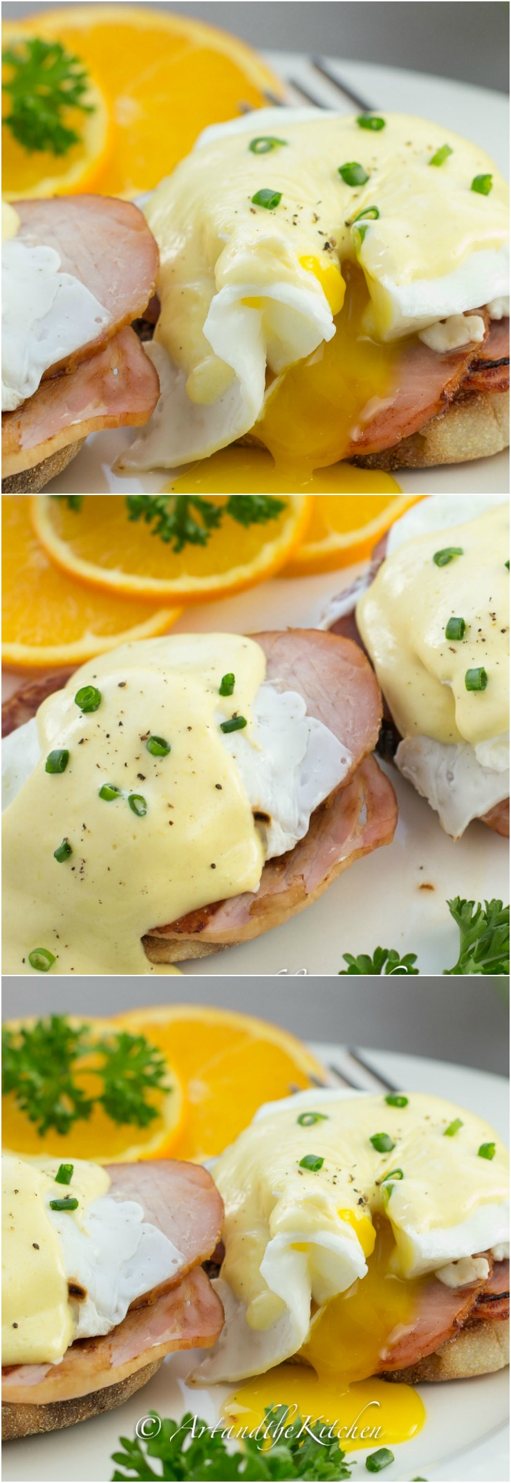 An easy recipe for making perfect Eggs Benedict. Using a blender helps make creamy smooth hollandaise sauce. via @artandthekitch
